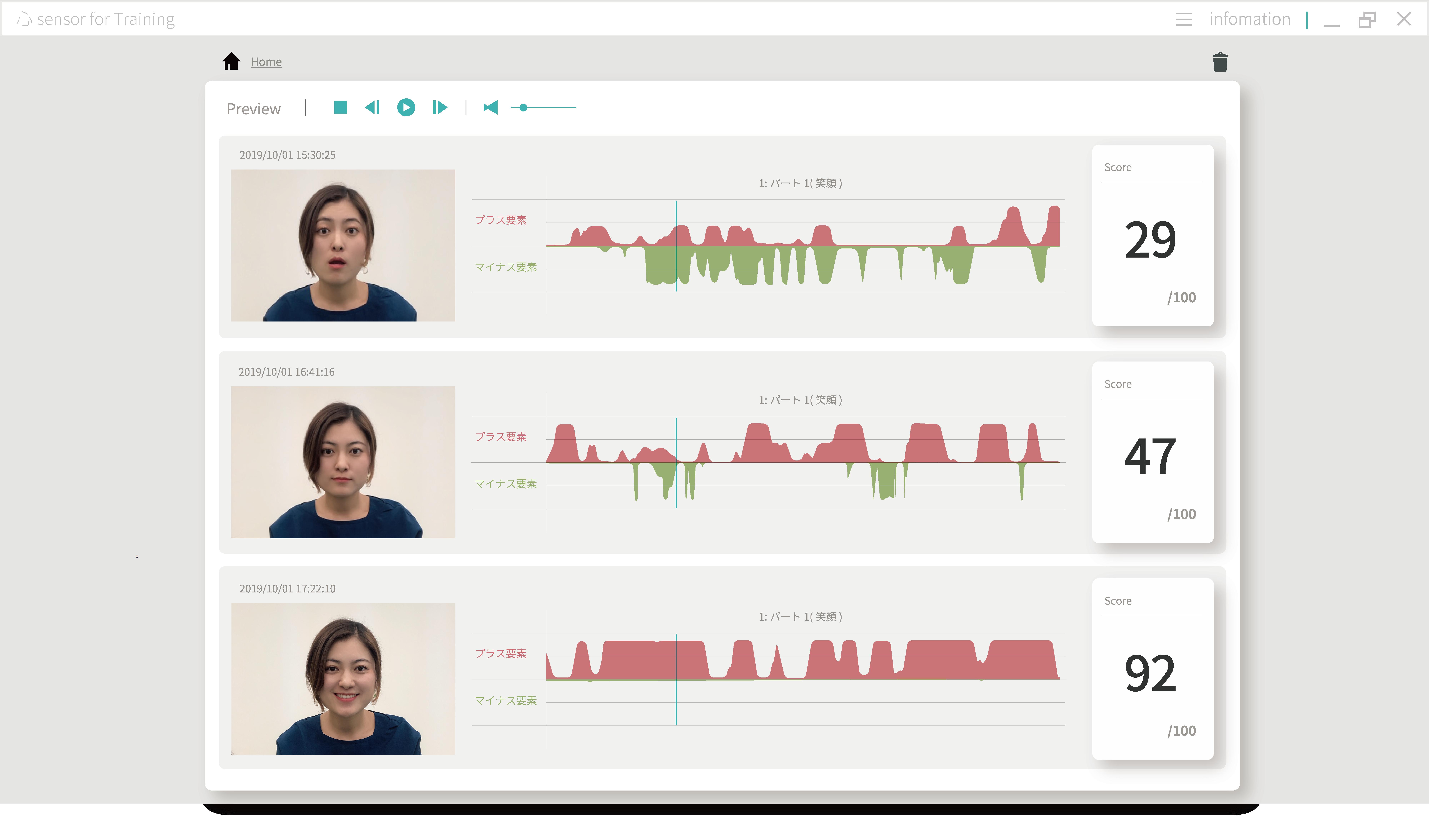 「心sensor for Training」の結果比較画面
